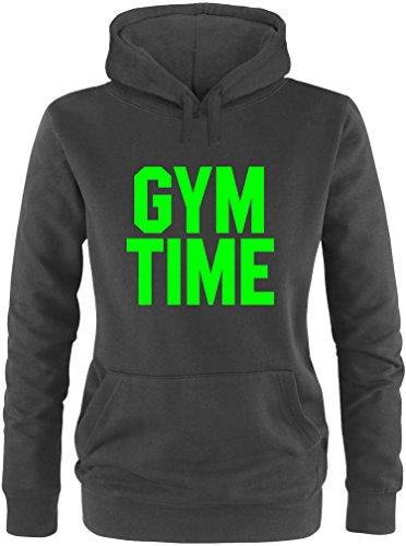 EZYshirt® Gym Time Damen Hoodie Schwarz/Neongrün