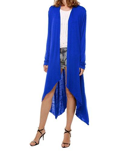 Meaneor Damen Strickjacke Maxi Offene Cardigan Mantel Strickmantel Lange Ärmel Langshirt Asymmetrisch Blau