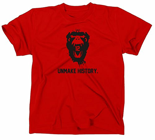 12 Monkeys Unmake History T Shirt, L, red