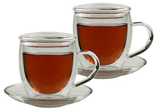 Feelino 2X 250ml Bullini doppelwandige Thermotassen incl. 2X GLASDECKEL - mit Untersetzer - edle Glas-Teetassen/Kaffeetassen mit Schwebeeffekt, Henkel und Untersetzer