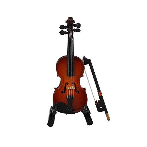 WLGREATSP 1:12 Puppenhaus Holz Violine Miniatur Musik Musikinstrument Kinder Geschenk Spielzeug mit Ständer