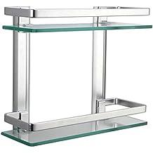 Homeself spessore vetro temperato Scaffale per bagno cucina mensola da parete in alluminio, alluminio, 2 parti