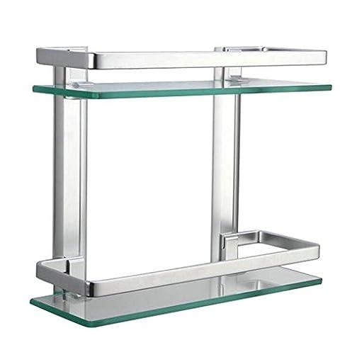 Homeself Gris épais en verre trempé en aluminium à montage mural étagère de salle de bain étagère de rangement de cuisine (2-Tier)