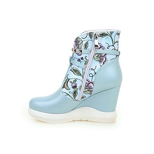 VogueZone009 Damen Pu Leder Hoher Absatz Gemischte Farbe Niedrig-Spitze Reißverschluss Stiefel Blau