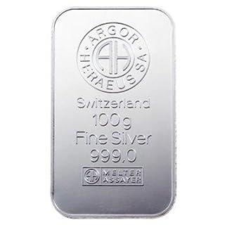 100 g Feinsilberbarren 999/- ARGOR HERAEUS