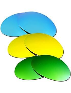 Hkuco Plus Mens Replacement Lenses For Oakley Romeo 1 Blue/24K Gold/Emerald Green Sunglasses