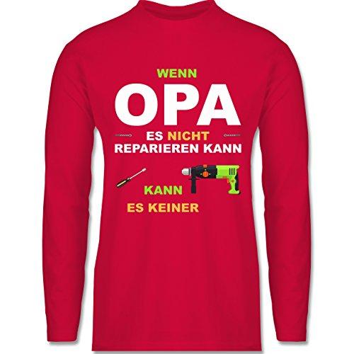 Opa - Wenn Opa es nicht reparieren kann kann es keiner - Longsleeve / langärmeliges T-Shirt für Herren Rot