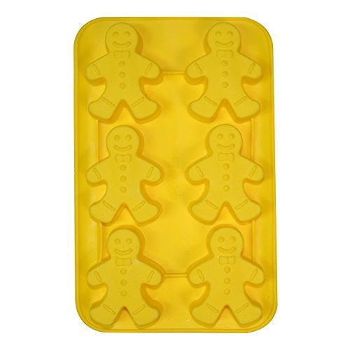 Large Silicone Christmas Cake / Ice / Soap Moulds for Baking etc - 6 Big Gingerbread People - UK SELLER