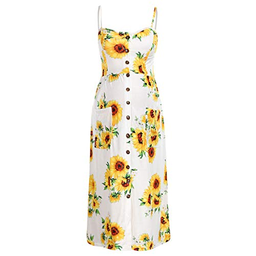 Ulanda-EU Schwangerschafts Kleid mit Ärmellos Freizeit Nachtkleid Langes Kleid Umstandskleid Sommer Mutterschaft Mode Umstandsmode Shirtkleid Sonnenblumendruck Sommerkleid
