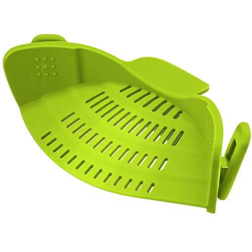 ouken Gemüse Stamm Sieb Clip auf Silikon Abtropffläche Passend für alle Töpfe und Schüsseln für Küche (Grün) -