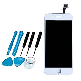 LL TRADER White LCD Display Digitizer Screen with Glass Lens Repair Replacement Kit for iPhone 6 6G (4.7 inch)