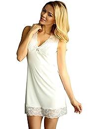 Kalimo Damen Dessous Nachtkleid Blickdicht mit Spitze Mini-Kleid Nachthemd in weiß