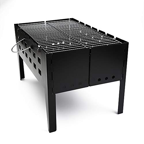 TOL MY Outdoor Folding Carbon Ofen, Outdoor Holzkohle Grill Feld Haushalt BBQ Party Strand Camping Verdicken Folding Haushalt Outdoor Tragbarer Grill Schwarz Stahlofen - Holzkohle-schwarzen Anzug