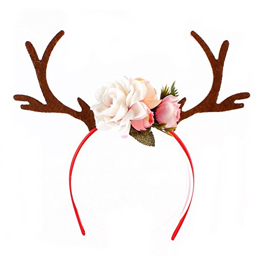Hirschgeweih-Blumen-Kopfschmuck, Haarreif, Party-Kopfbedeckung für kleine Mädchen, Cosplay, Kostüm, Stoff, weiß, Einheitsgröße