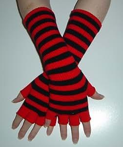 Long magic Fingerless Gloves - Red & Black Stripe - one size
