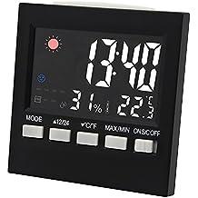 Termómetro digital Higrómetro Medidor de humedad con temperatura y humedad con reloj despertador