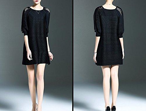 Smile YKK Femme Coton Robe Slim Moulante Uni Noir