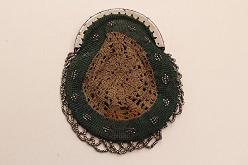 Antiker Geldbeutel Geldbörse Säckchen Beutel gehäkelt mit Perlenstickerei (Gehäkelte Beutel)