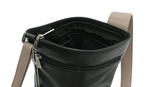 Mala Leather Collezione BURCHELL Borsa Tracolla / Zainetto in Pelle 737_39 Prugna Multi Nero Multi