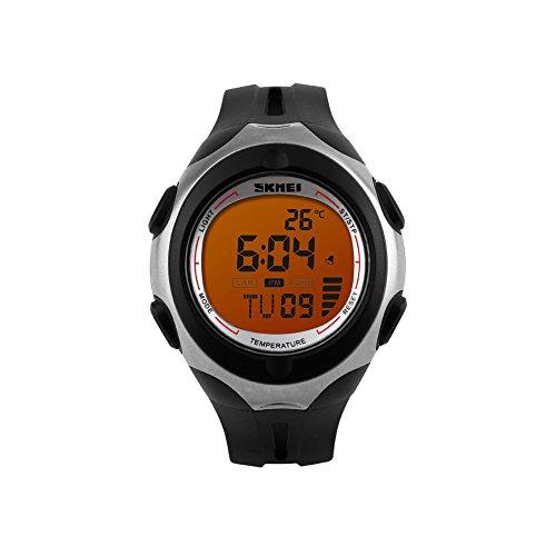 iLove EU Herren Armbanduhr 50m Wasserdicht Digital LED Alarm Datum Uhr Sportuhr mit Orange Zifferblatt und Schwarz Silikon Band