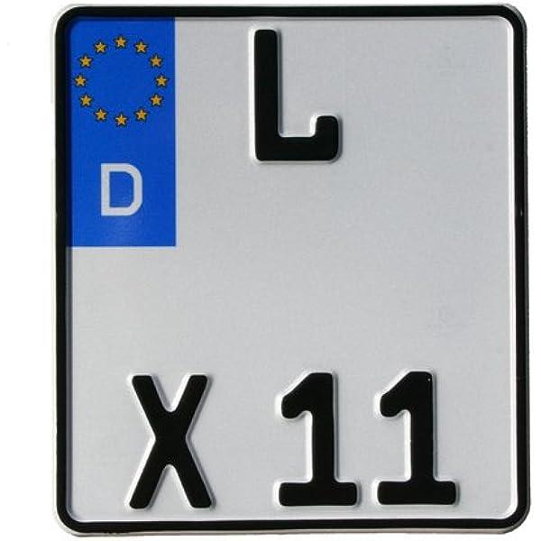 Motorrad Kennzeichen Eu 180 X 200 Mm Reflektierend Motorradschilder Mit Wunschkennzeichen Kfz Kennzeichen Auto