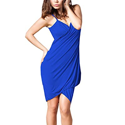 Fascinating Lingerie Women's Poly Cotton Open Back Bikini Cover Up Wrap Dress (Blue, Free Size)