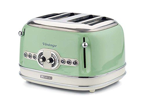 Ariete 156/2 Vintage 4-Schlitz-Toaster, lackiertes Edelstahl, grün