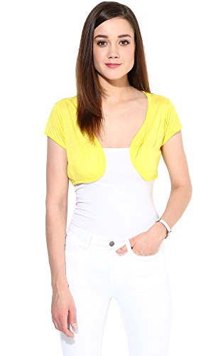Trend18 Viscose Yellow shrug - Yellow Large  available at amazon for Rs.199