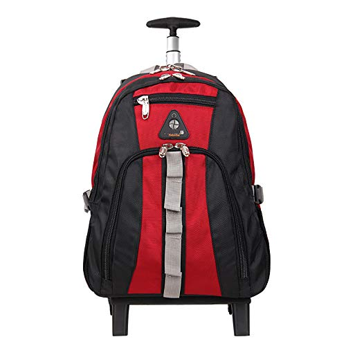 FGKING 18 Inch Trolley Rucksack, Nylon Waterproof Freewheel Travel School Wheeled Backpack, Carry-on Gepäck mit Zippers, Ultra-Light und Large Capacity Bag,Red - Wheeled Backpack Gepäck