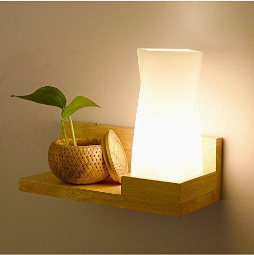 Wlxsx Massivholz Wandleuchte Schlafzimmer Persönlichkeit Nachttischlampe Regal Kreative Wand Lampe Energie Sparenden Treppe Eingang Holz- Gang Lampe