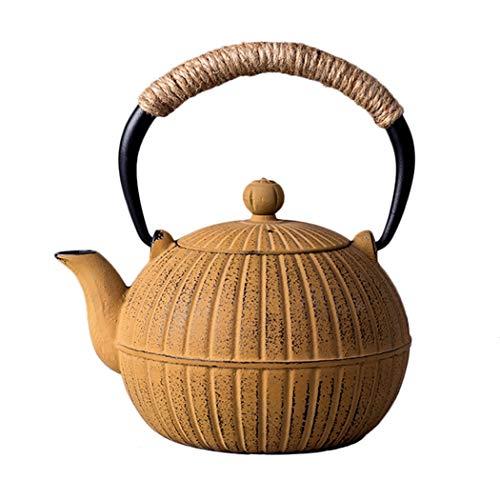 HongTeng Teekanne aus Gusseisen, kürbisförmiger Wasserkocher mit Verbrühungsschutzgriff, 570 ml (20,0 oz) Gelbes Geschenk für Ihre Familie, Freund (20x16x1 Ofen-filter)