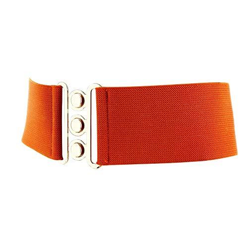 FASHIONGEN - Damen Breiter elastische gürtel, GLORIA, In Frankreich Hergestellt - Orange (Golden), Small / 36 bis 38