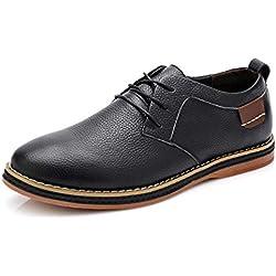 Hombres Pisos Casual nuevos Zapatos de Cuero Genuino Oxford Moda Encaje hasta Zapatos de Vestir Zapatos de Trabajo
