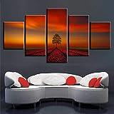 mmwin HD Impreso Lienzo Abstracto Cartel Decoración para el Hogar 5 Unidades Bosque Aurora Paisaje Wall Art Pictures For Living Room Trabajo
