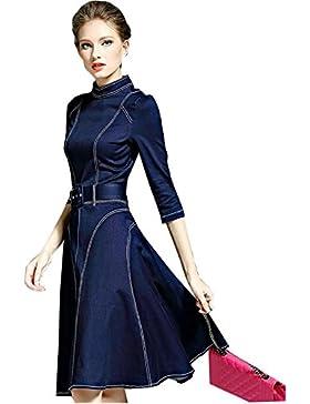 2017 nuevo temperamento falda vaquera de manera simple vestido grande del oscilación , deep blue , xl