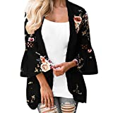 Quaan Frau Spitze Blumen Öffnen Kap Beiläufig Mantel Bluse Kimono Jacke Strickjacke Strand Büro Schlank Plus Größe aushöhlen Lose Silhouette Strickjacke Windjacke Sweatshirt Mantel