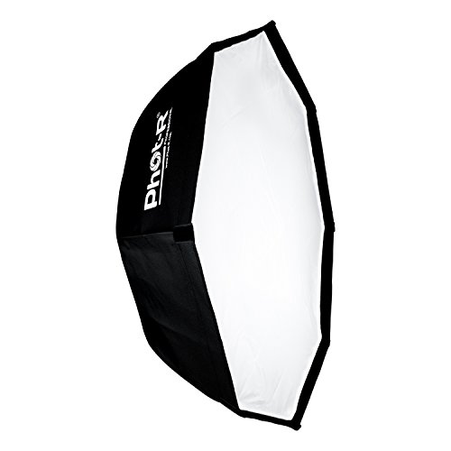 Phot-R P-80BW Professionelle 80 cm (31,5 Zoll) Octagon Folding Umbrella Softbox Reflektor mit Bowens S-Type Berg Sppedring Photo Studio Strobe-Blitz für Flashguns und Speedlites schwarz/silber