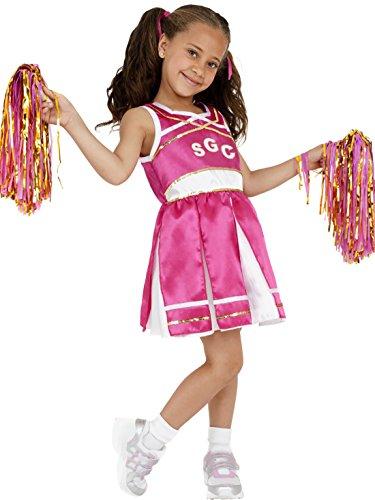 erdbeerclown - Mädchen Kinder knalliges Cheerleader Kostüm Pompons, 122-134, 7-9 Jahre, Pink