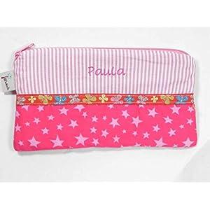 Schlampermäppchen, Stiftemäppchen mit Name, personalisiert, rosa Streifen, Sterne, Schlamperle