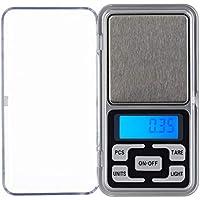 Relaxdays Digitale Feinwaage, bis 200 g, 0,01 g Schritte, Tara- & Zählfunktion, kalibrierbar, Mini Taschenwaage, Silber