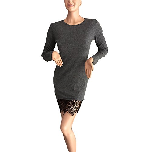 Deman Kleid Rundkragen Mit Langen Ärmeln Kleid Nähte Zum Schnüren Spitzenkleid Frauen Normallack Blusenkleider Normallacks Grau