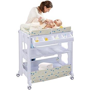 Table à langer avec baignoire bébé rangement matelas à langer (Beige): Amazon.fr: Bébés ...