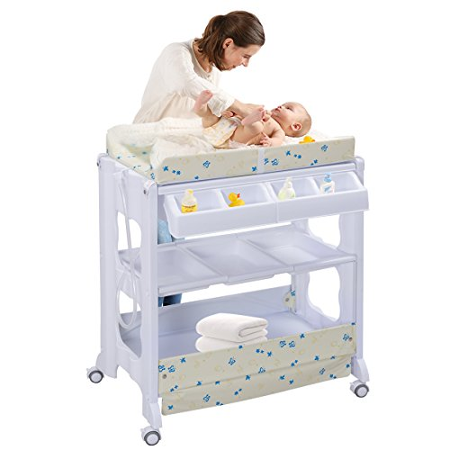 COSTWAY 2 in 1 Mobiler Wickeltisch Badewanne | Wickelkommode Baby Bade | Wickelkombination Wickelauflage Kommode| Wickelregal (weiß)