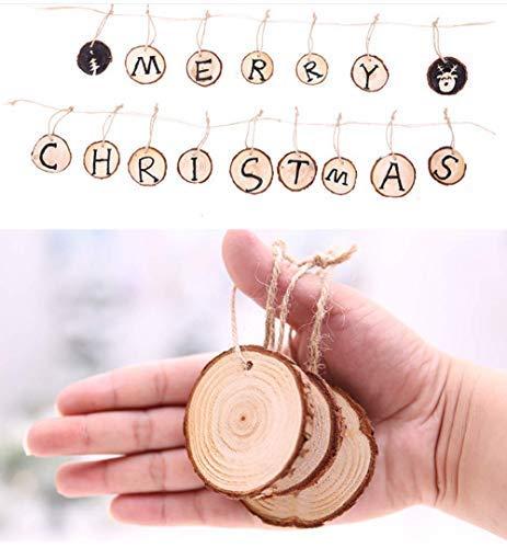 KSPOWWIN Holzscheiben aus Naturholz, 40 Stück, unlackiert, vorgebohrt, mit Löchern, Holzkreisen für Kunst und Handwerk DIY Weihnachtsdekoration DIY Natural Wood Slices 40 Pcs 2