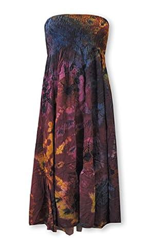 Sommerbekleidung Lagenlook weites Shirt Top Maxirock Bandeaukleid Pumphose Batik (42441 - Kleid/Rock 2in1)