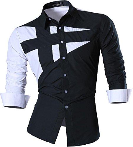 jeansian Herren Freizeit Hemden Shirt Tops Mode Langarmshirts Slim Fit 8397 8397_Navy