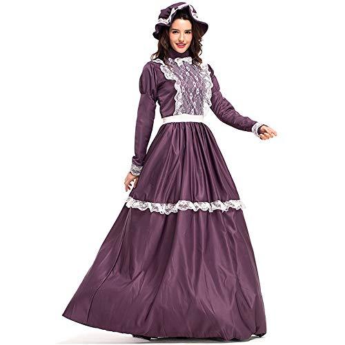 ttelalter Kostüm Party Frauen Halloween Theme Party Film Kleidung Manding Set,Purple-XL ()