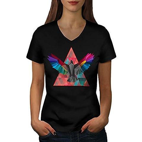Géométrique Oiseau Mode Oiseau Vol Women M T-shirt à col en V | Wellcoda