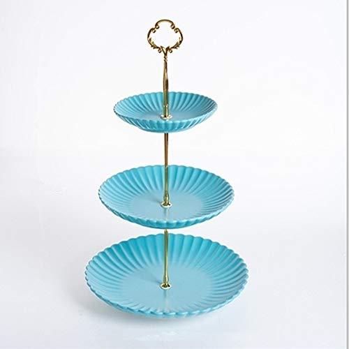 DNCST 3 Tier Keramik Tortenständer Farbe Relief Obstteller Keramik Cupcake Für Kuchen Desserts Süßigkeiten Obst Buffet Ständer Für Hochzeit & Geburtstag Party & Home Serviertablett für Partys