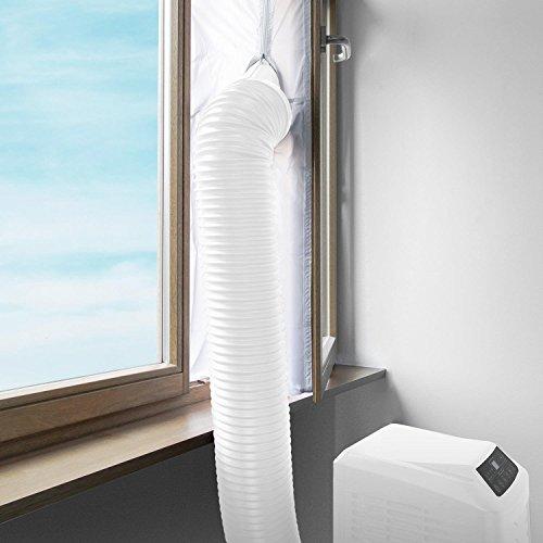 Klarstein Klimageräte Fensterabdichtung Set für Klimaanlage mit Abluftschlauch (4m Länge, Reißverschlussöffnung, Klettband-Installation, für Dachfenster, offene und angeklappte Fenster) weiß
